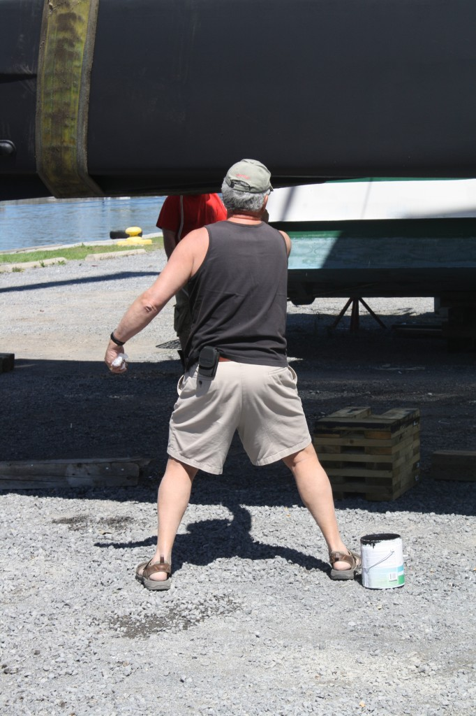 .....except for some last minute touch up to the fresh, new bottom paint by the Captain.