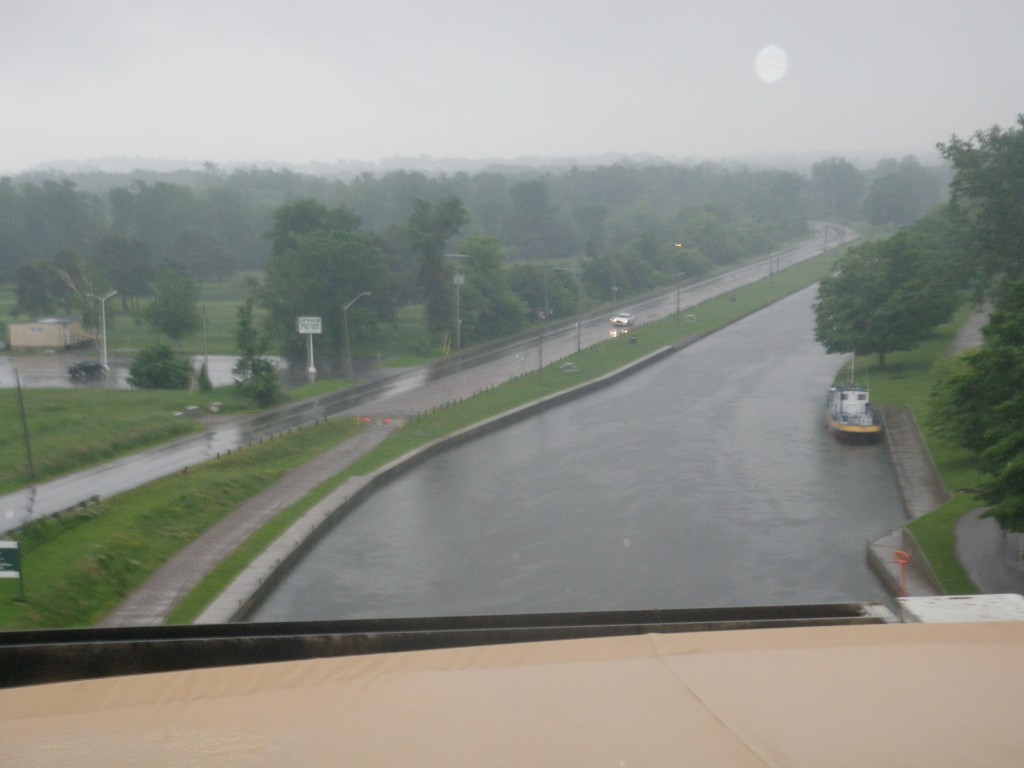 A view from the top of the Peterborough Loft Lock (in very rainy weather).
