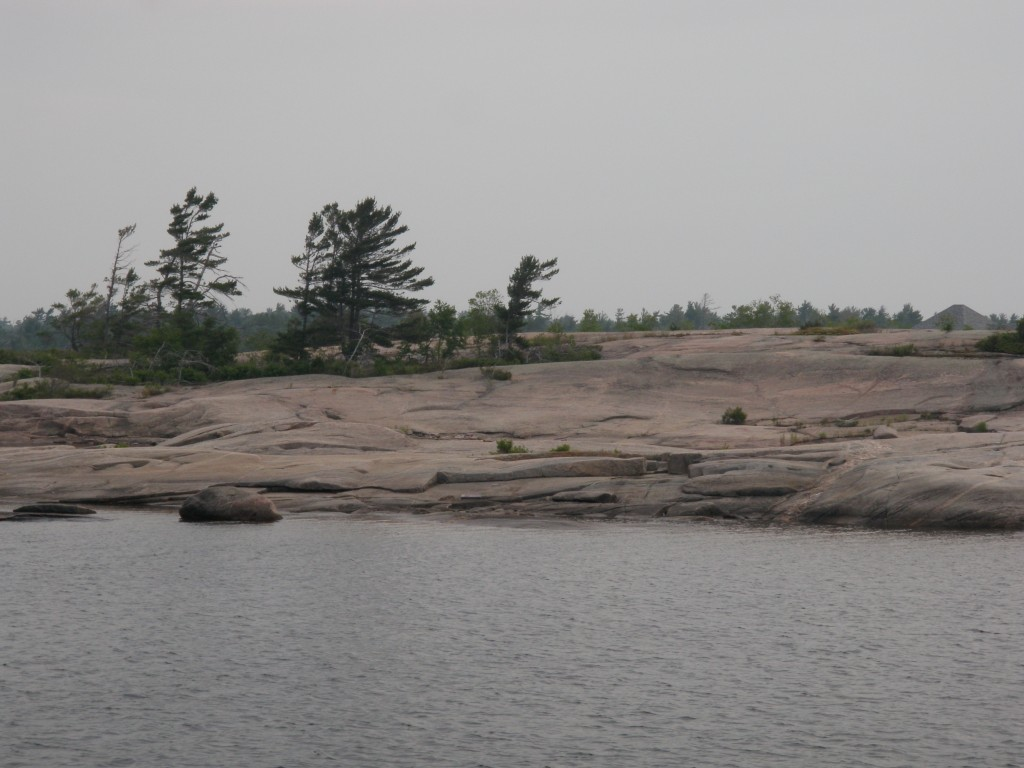 Right out of the Group of Seven, a typical view from the outer banks of Georgian Bay - pink granite and windswept trees.