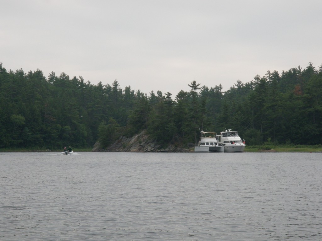 His Idea and Kadadi rafted up at Moon Island; the adjacent land is in Massasauga Provincial Park.