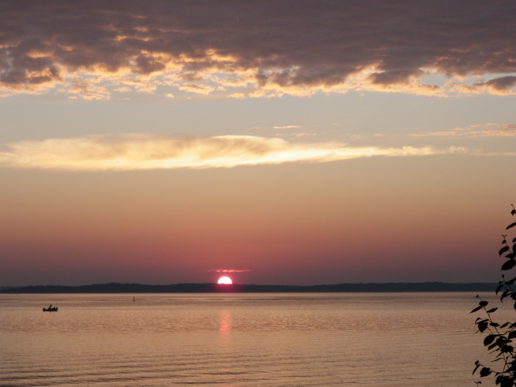 Another spectacular sunset, this time over the calm waters of the sound.