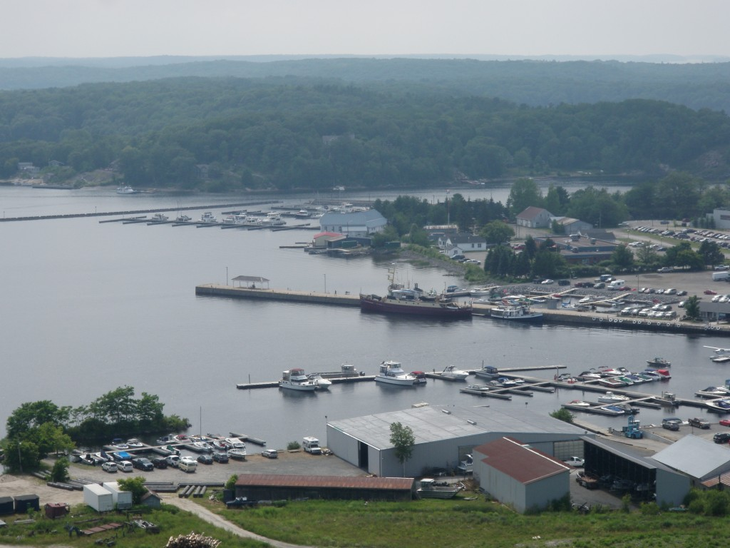 Th view of Parry Sound harbour from the top of the (circa 1920's, but rebuilt) fire watch tower.