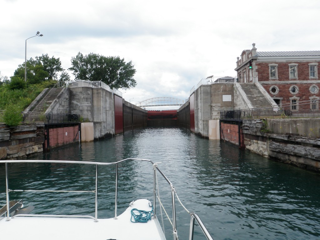 Locking through the Canadian Soo locks, now a National Park and used only by recreational boaters.