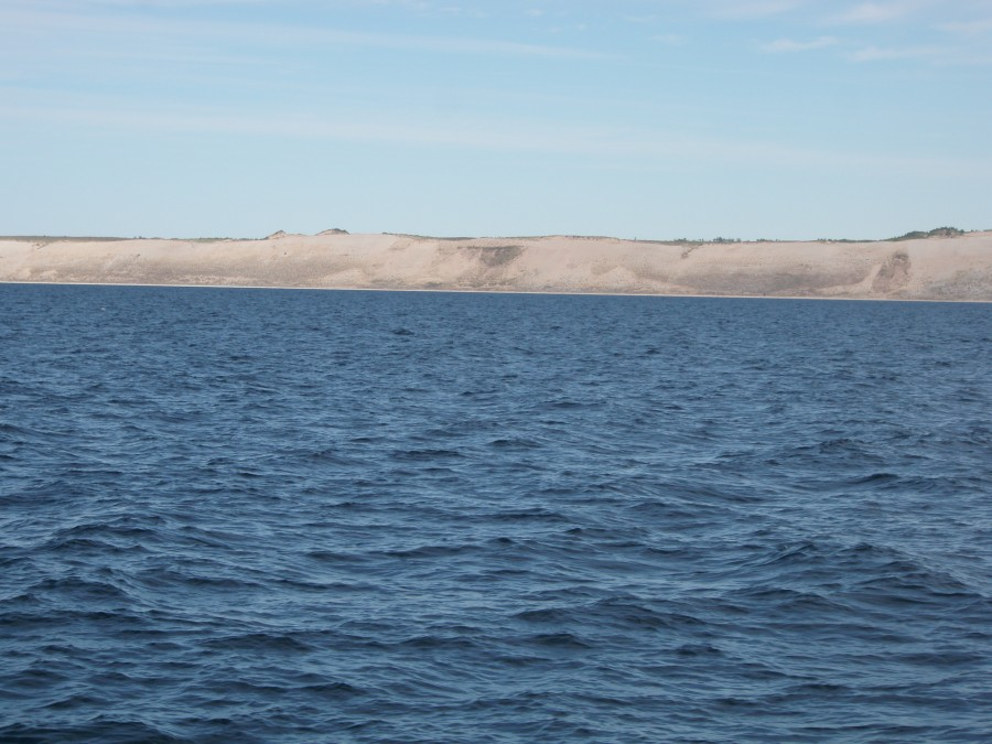 This is a picture of Sleeping Bear Dune, one of the largest along the coast.