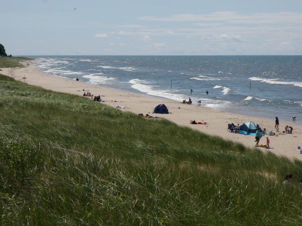 Thousands of years of prevailing westerlies means a predominantly sandy sholine all along the eastern coast of Lake Michigan, as well as great beaches (in the summertime at least).