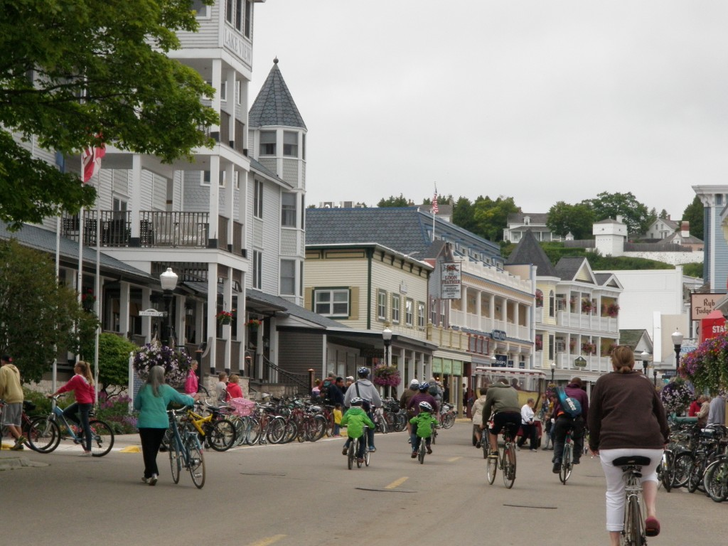 The village main street, filled with horse drawn carriages and bicycles, bicycles, bicycles (and tourists of course).