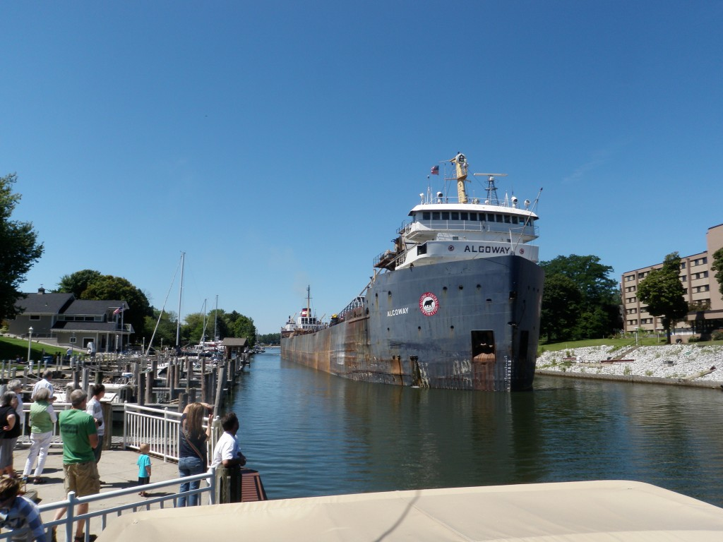 At Manistee we were visited by a very large Canadian laker which was stopping by to load salt at the local Morton's plant.