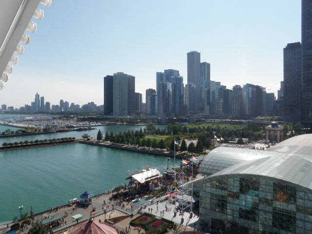 The Admiral's first desire upon arrival in Chicago was to ride the Ferris Wheel at Navy Pier; this is a view from the top.