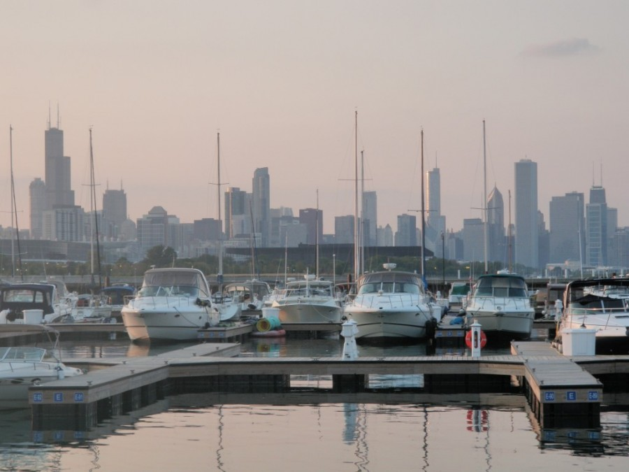 A sunset view of the Chicago skyline from our marina; we stayed at the 31st Street Harbour facility, which was modern and clean, and only about 3 miles south of downtown.