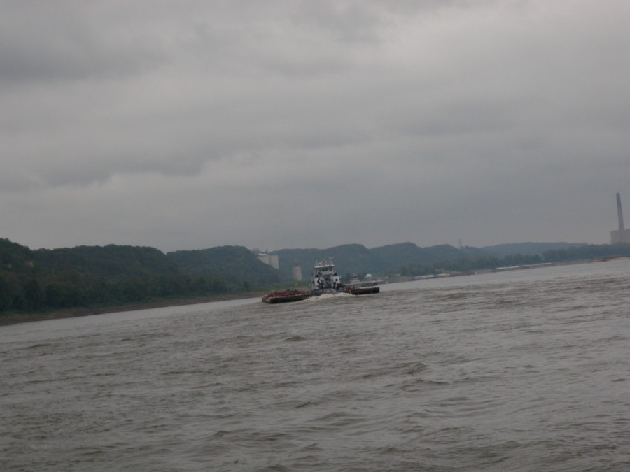 A typical somewhat gritty scene during one of our grey(er) days on the Mississippi, but.....