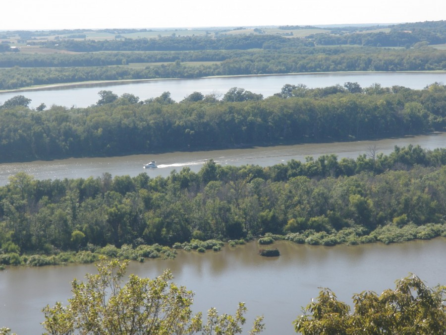 A view from the bluffs overlooking the Illinois River, just before it joins the Mississippi.