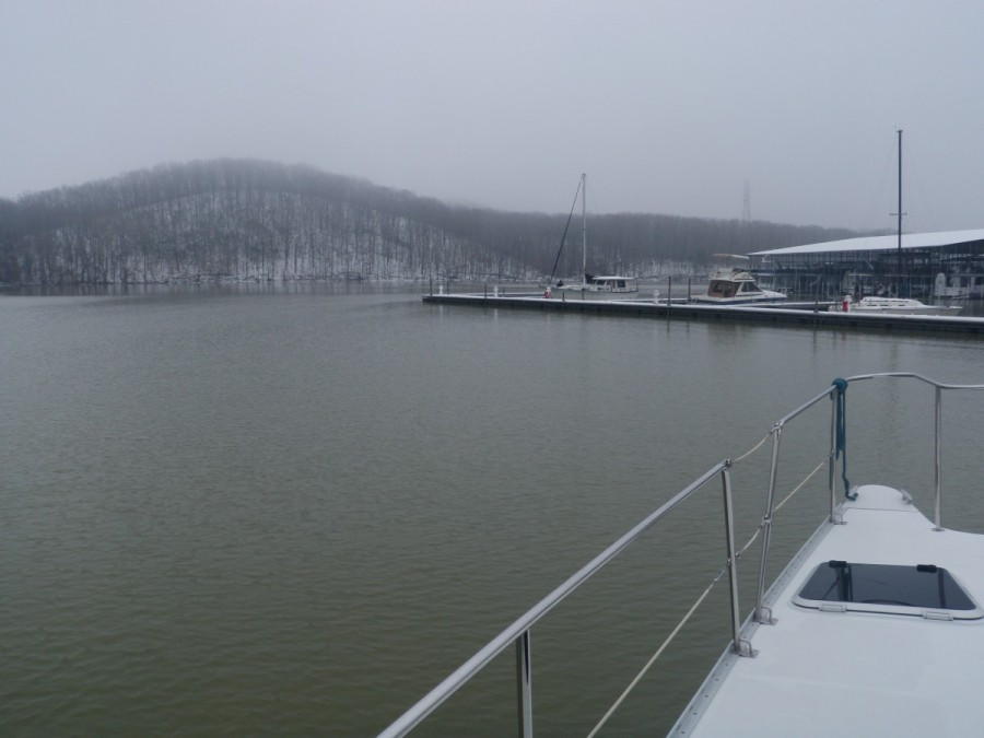 Our first destination,  was Pebble Isle Marina, 75 miles south of Green Turtle Bay; still cold and snowy!