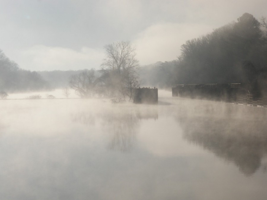Another misty morning on the hook, shared with the ghost of old Lock Number One on the Mobile River.