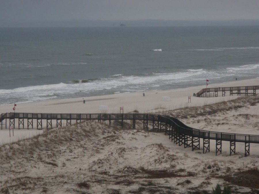 The sand dunes, beach and rollers from our balcony at Gulf Shores.