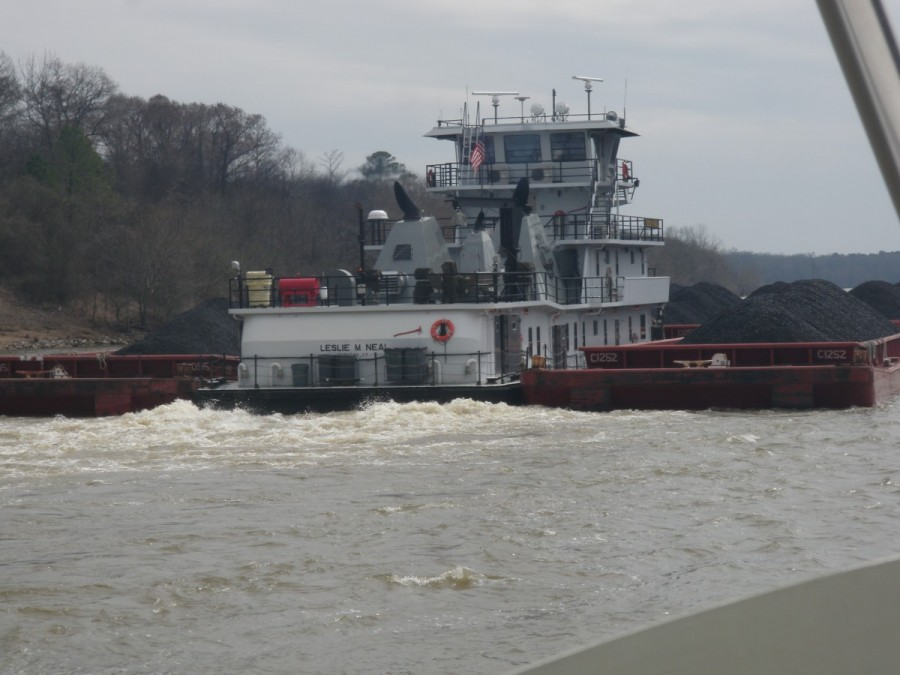 Getting ready to do a 'one toot' pass of the Patricia M. Neal; because these tows go 24 hours a day (and we do not), we passed this tow multiple times on our way down to Mobile.