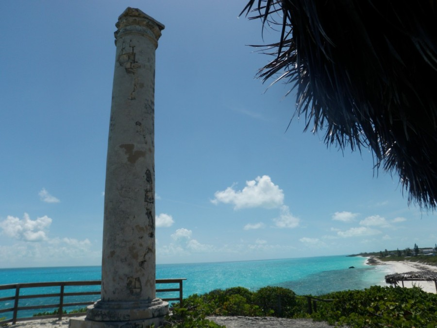 This column was erected to mark the location for shps to anchor offshore to collect the salt.