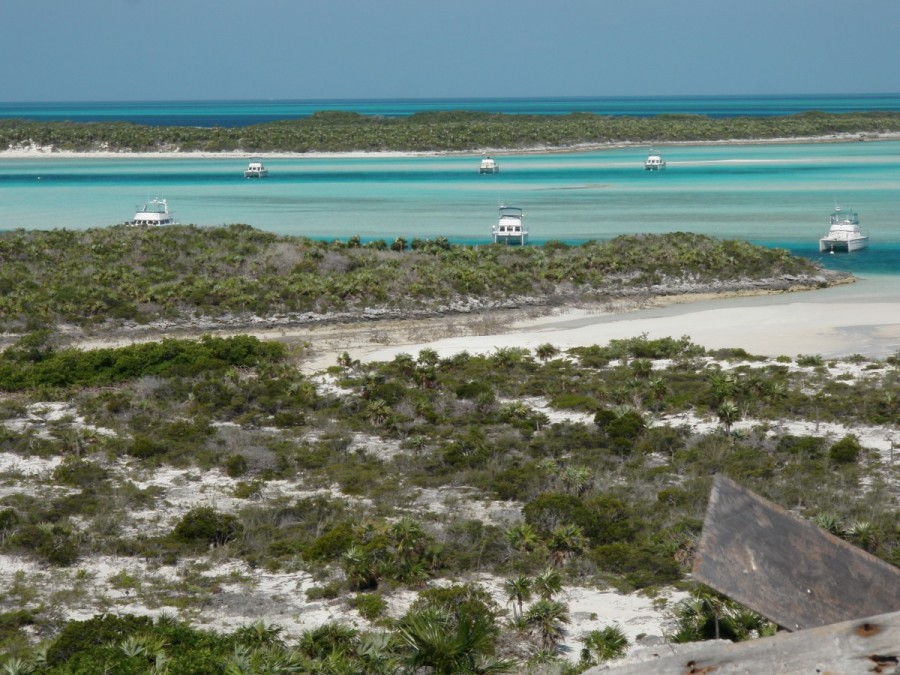 The PDQ fleet anchored at Warderick Wells Cay (His Idea is top right); the picture was taken from the top of Boo Boo Hill....