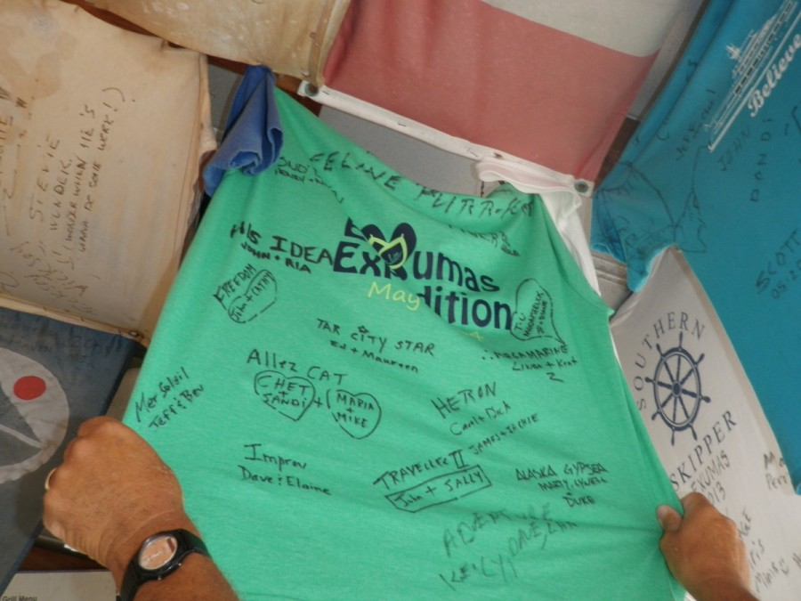 .....where we signed and hung one of our Exuma Expedition tshirts for posterity.