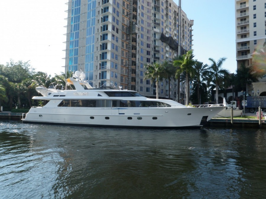 A neighbouring yacht  at our New River moorage right in downtown Fort Lauderdale; there are megayachts galore along this stretch of the iCW to Miami.