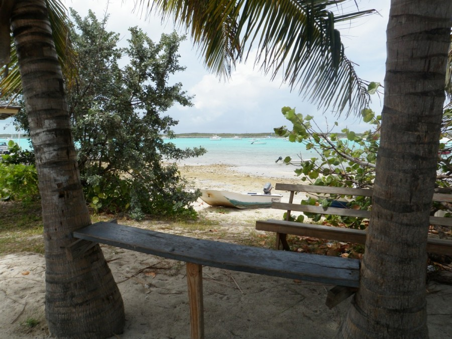 A beach scene from the small, remote and traditional Bahamian community of Black Point, Great Guana Cay.