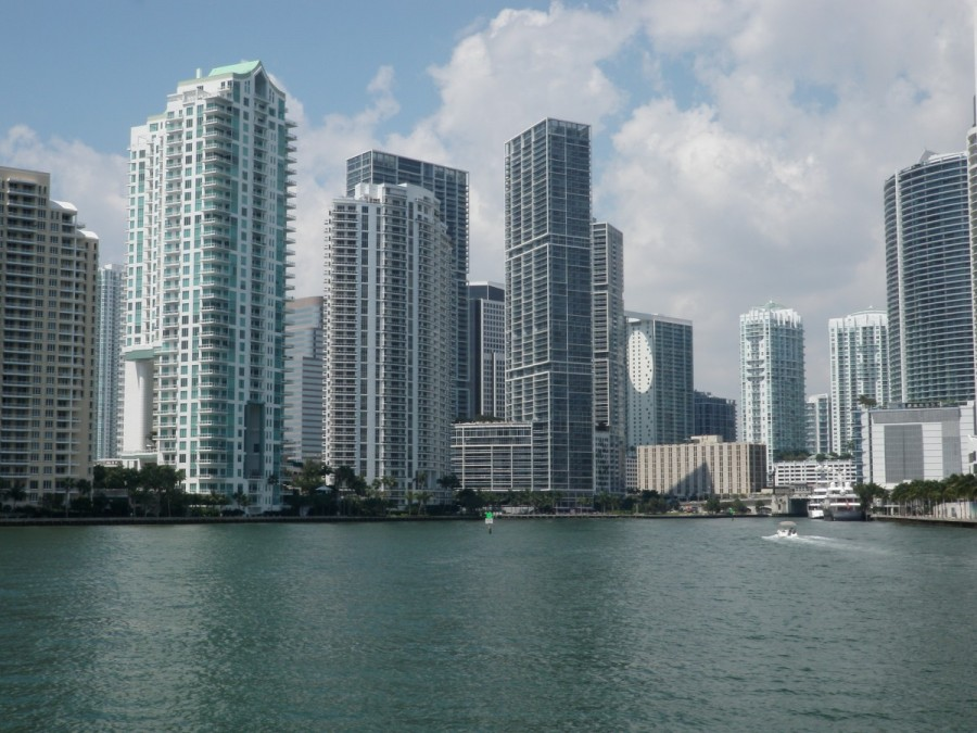 Entering downtown Miami harbour.