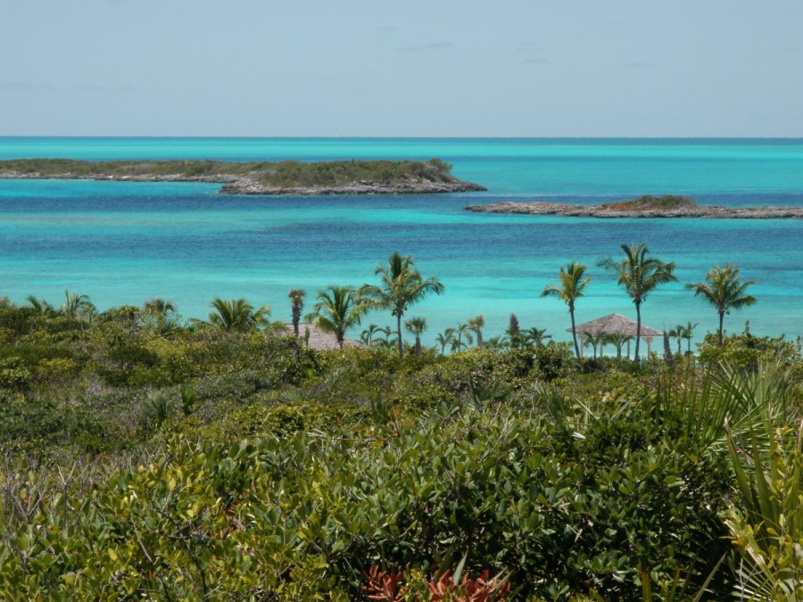 This is the view from the top of the hill from our next stop, Highborne Cay.