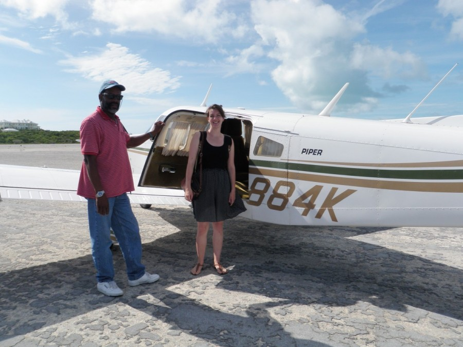 Because we would next be heading north to Nassau, t was easier to charter a flight from Staniel Cay back to Geogetown for Vanessa's flight home.