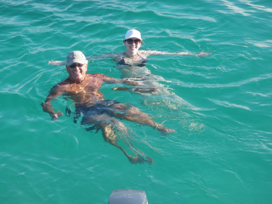 Just like old times - father and daughter enjoying a swim together, this time off the back of His Idea in Gaviota Bay.