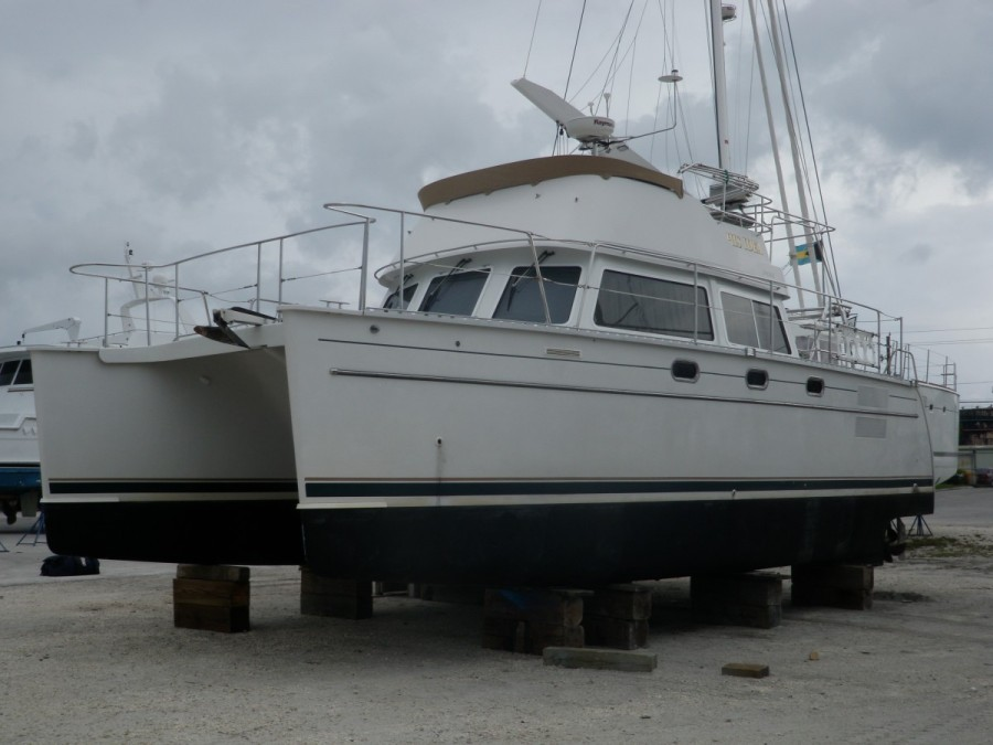 His Idea blocked and almost ready for hurricane season; tie down straps anchored to the ground are yet to be installed.