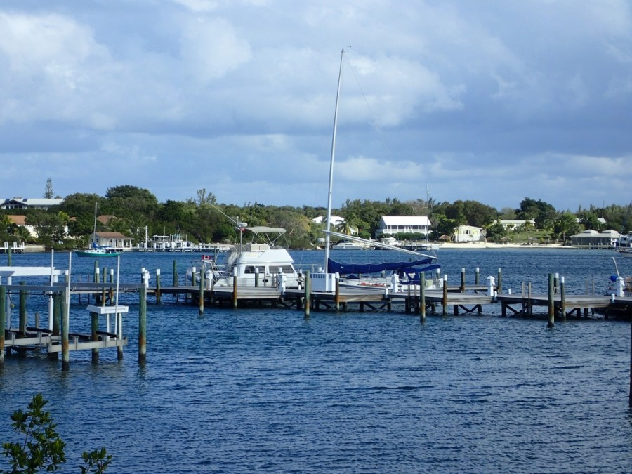 Safe at our berth at Bluff House Marina, Green Turtle Cay - a great harbour, great resort, an d great place!