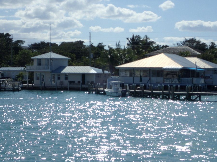 Our Marsh Harbour marina - office, captain's lounge and pool on the left, with Snappa's bar & grill on the right.