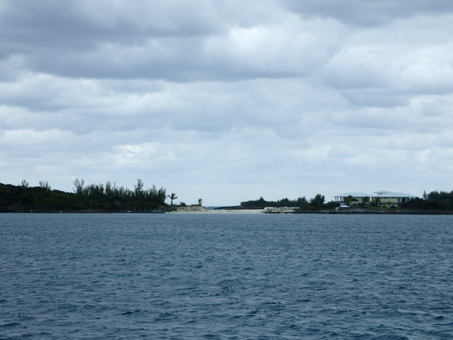 On the way to Great Guana Cay, which is only  about 10 miles from Marsh Harbour; rough seas are evident outside the little cut here.