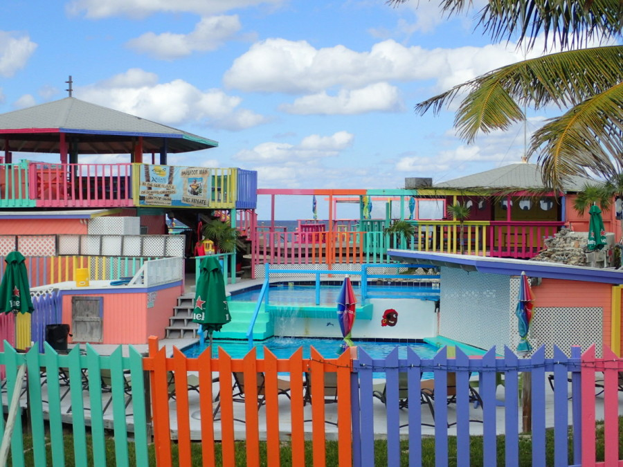 Pastel colours are common in the Bahamas; at Nippers, which overlooks the Atlantic beach, they went a little wild (in keeping with its reputation).