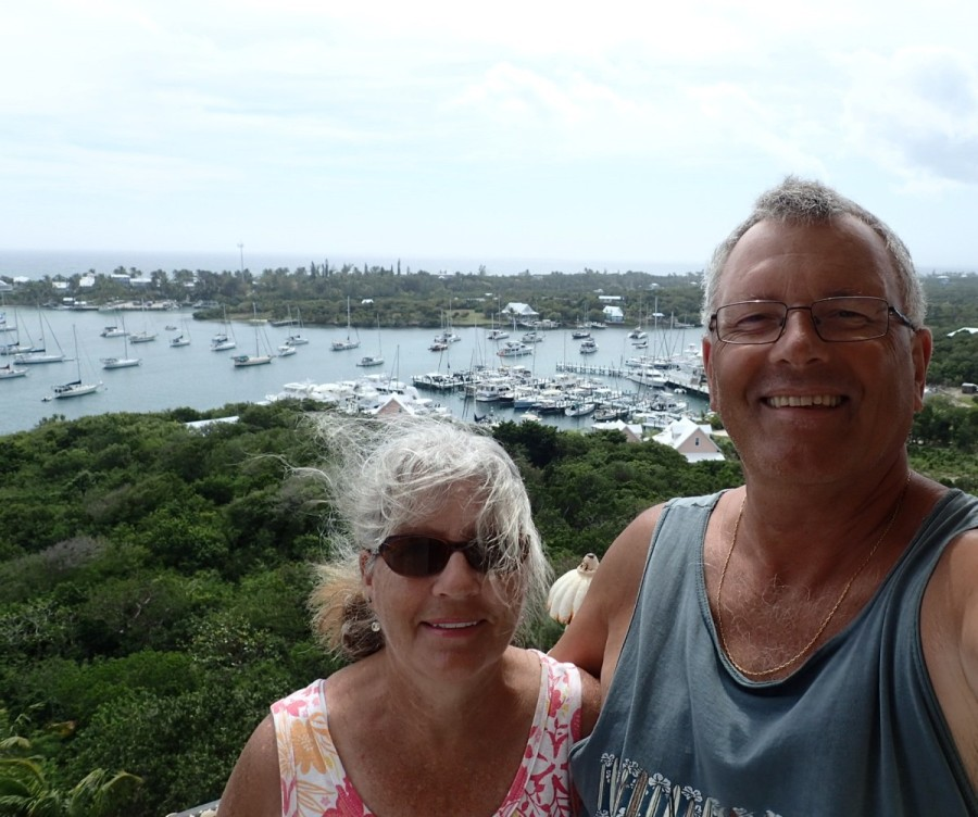 There were many great views from the top; behind us is Hope Town harbour, and in the right foreground is the very nice resort where we stayed.