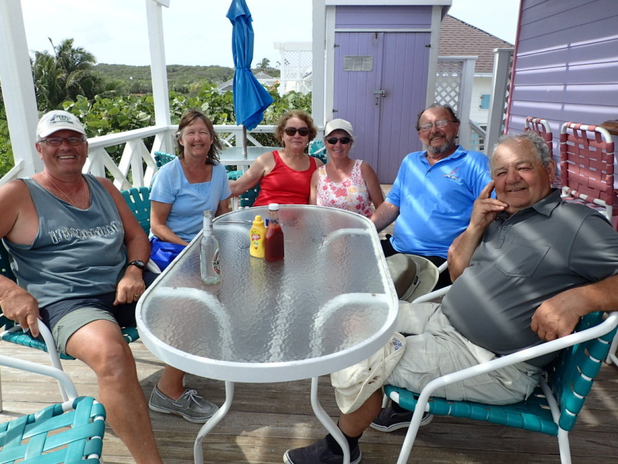 Enjoying good times with fellow cruisers at 'On Da Beach' - Sue, Carey, Phil and Joe.