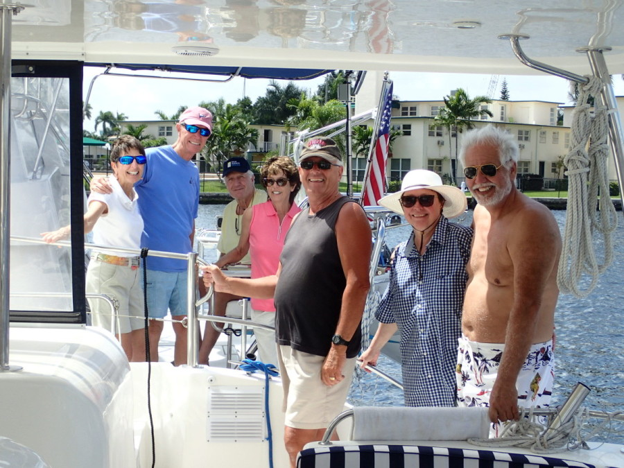 In Ft. Lauderdale we had a brief reunion with Dick & Carol Tuschick of Rhumbline Yachts, who happened to be cruising the ICW with friends; to the right are Lion & Kaarina Benjamins, who had just purchased.....