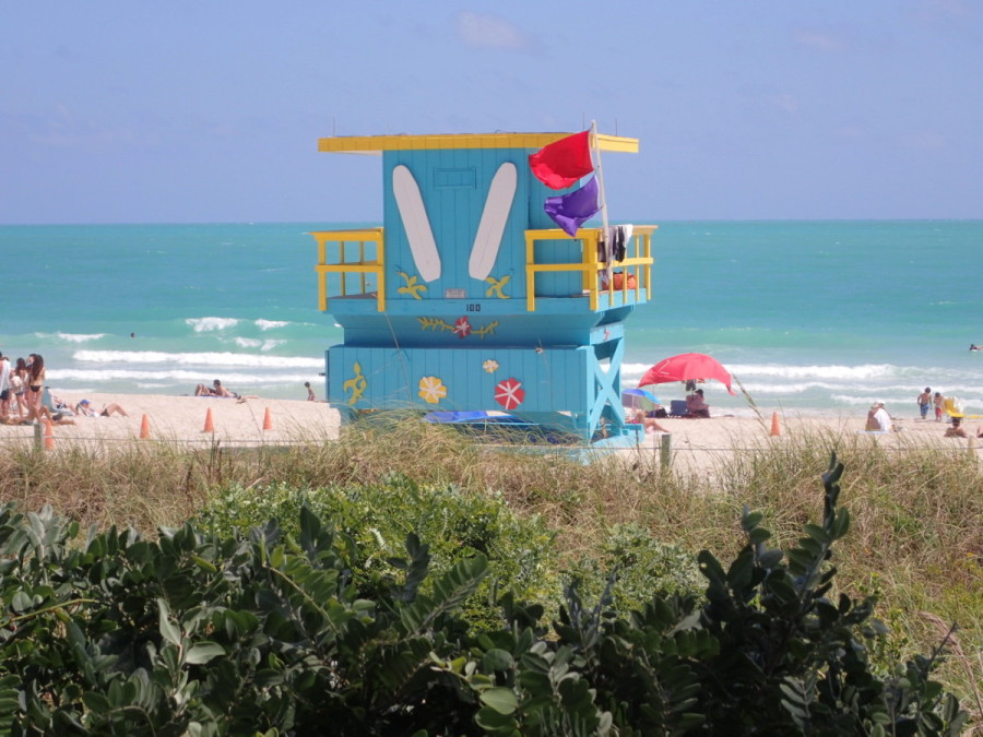 Even the lifeguard stations have pizazz in South Beach.