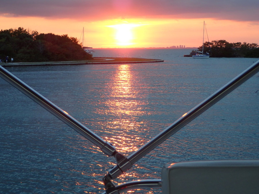 Sunset across Biscayne Bay from our anchorage at No Name Harbour.