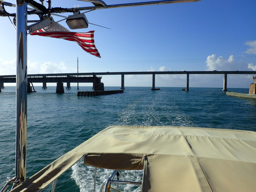 With Seven Mile Bridge receding behind us, it was now  about 50 miles of open water to reach the Everglades' Little Shark River.