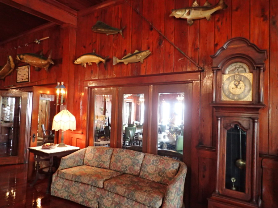 The Club is huge, with a large salon decorated with stuffed fish.....