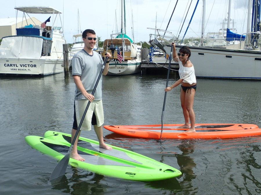 .....and a work out on the paddle boards the following day; The Captain and the Admiral tried it too, and liked it, so we may buy one to keep on His idea.