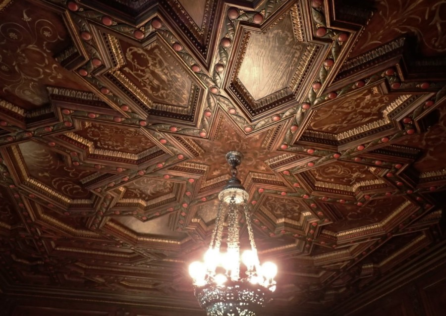 The ornate ceiling of the mansion's dining room, allegedly Mabel's favourite....
