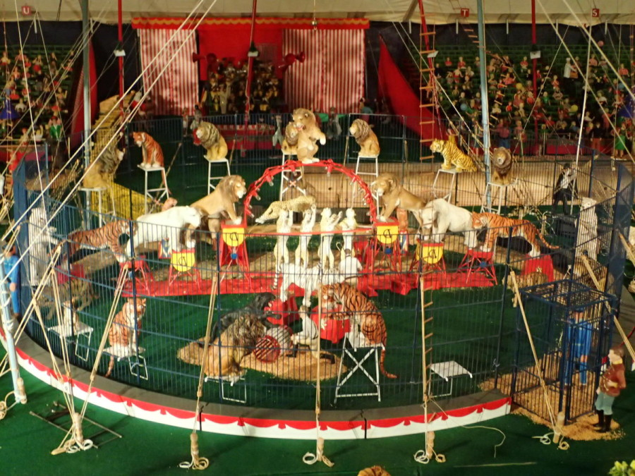 This is one of the intricate hand built displays from the huge (3800 sq. ft.) circus model at the Circus Museum in Sarasota.