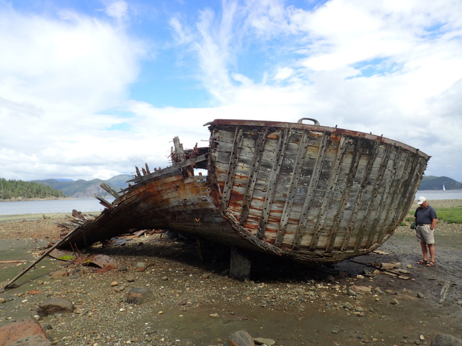 The impressive remains of a large wreck are fully exposed during low tide at Squirrel Cove, Cortez Island.
