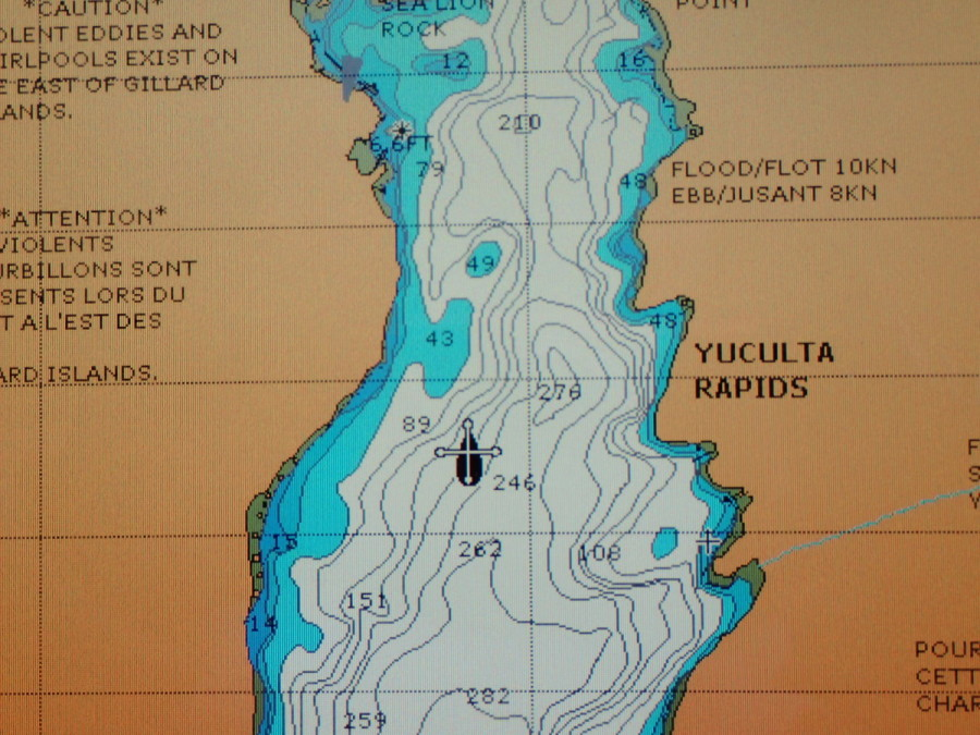 Our chartplotter showing His idea entering the Yuculta Rapids, the first of three we would transit through the narrow passes north of Desolation Sound.