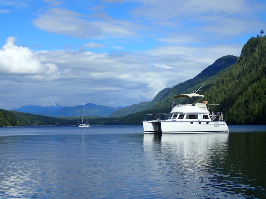 Our anchorage at Forward Harbour was well protected from the westerlies of Johnstone Strait, with great views of the coast mountains to the east.