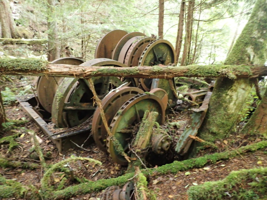 Abandoned logging equipment near our anchorage at Turnbull Cove; although there is evidence of logging on the mountainsides throughout this area, for the most part reforestation efforts cover most of the unsightly scars that remain, and we did not find it was particularly obtrusive to the beauty of the area.