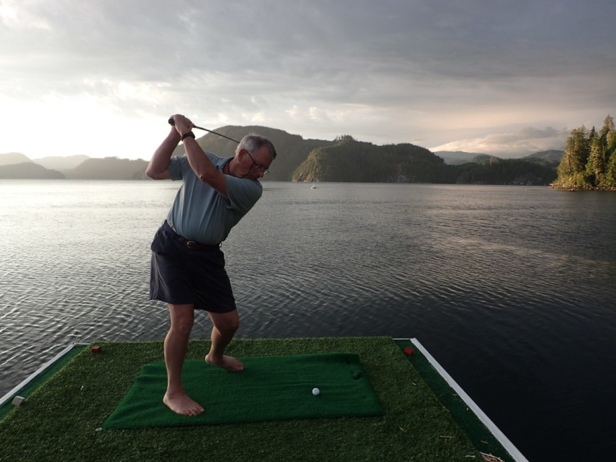 .....and its own one hole golf course; this is the Captain practicing for the evening competition, where 'closest to the pin' wins a freshly baked turnover for the next day's breakfast (showing great determination, the Captain was finally rewarded on the third and last day of competition!).