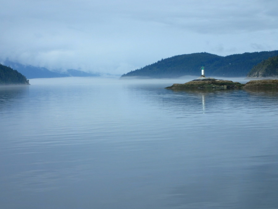 Approaching calm but foggy Johnstone Strait, from Havannah Channel east of West Cracroft Island; visibility was down to less than a mile for a good portion of this passage, so a sharp lookout and and close watch of chartplotter, radar and AIS was required for much of the southbound passage.