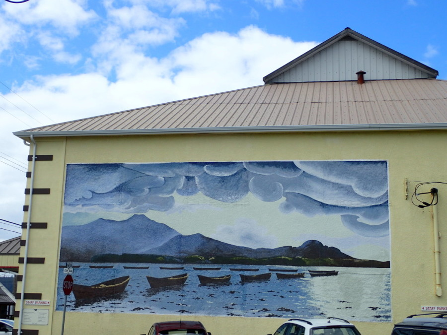 This evocative mural of small fishing skiffs, which is painted on the side of the Sointula Co-op Store, captures part of the history of this very interesting community. Sointula - which means 'place of harmony' - was founded by Finnish immigrants in the early 1900's who were looking to establish a utopian society based on communal ideas.